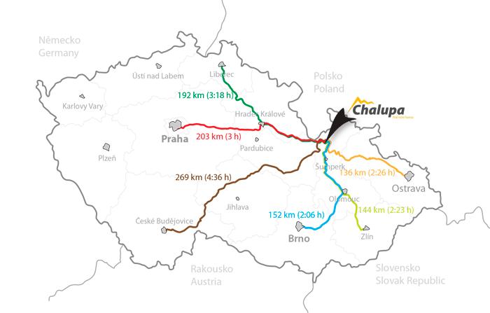Mapa ČR s vyznačenýma trasama na chalupu pod Sviní horou